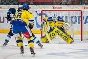 Utkání 42. kola Tipsport extraligy ledního hokeje se odehrálo 21. ledna v liberecké Home Credit areně. Utkaly se celky Bílí Tygři Liberec a Aukro Berani Zlín. Na snímku vpravo Libor Kašík.