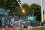 Výtržnosti fanoušků Brna při zápase první fotbalové ligy ve Zlíně.