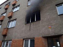 Požár bytu v centru Zlína.