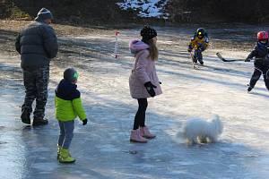 Současné mrazy pokryly ledem i rybník v Tlumačově. Toho využily nejen děti k bruslení a hrátkám.