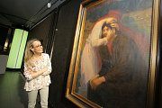 Výstava Velikáni českého umění ve Filmovém uzlu ve Zlíně.Na snímku obraz Splynutí dušík od Maxe Švabinského (olej 1901)