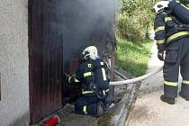 Požár garáže. Ilustrační foto