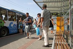 """Zastávka trolejbusů """"U zámku"""" ve Zlíně."""