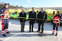 Slavnostní předávání nových sanitních vozů v krajské nemocnici T. Baťi ve Zlíně.