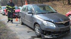 Srážka čtyř aut v Kostelci u Zlína