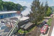 Požár v areálu TOMA. Ilustrační foto z roku 2016