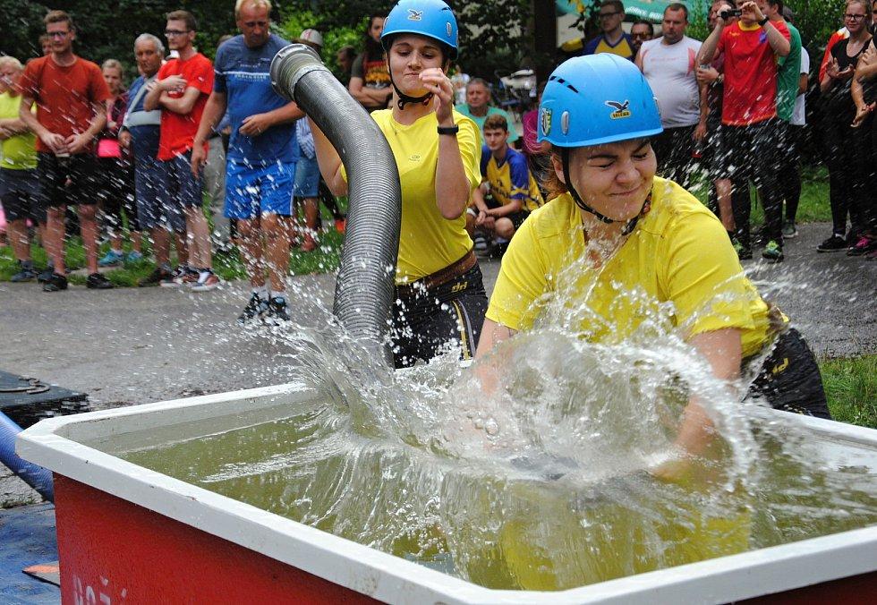 Hasičská soutěž O pohár starosty města v parku v Rožnově pod Radhoštěm; sobota 17. srpna 2019