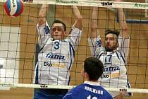 Blok dvojice Michal Čechmánek (vlevo), Marek Tomáš