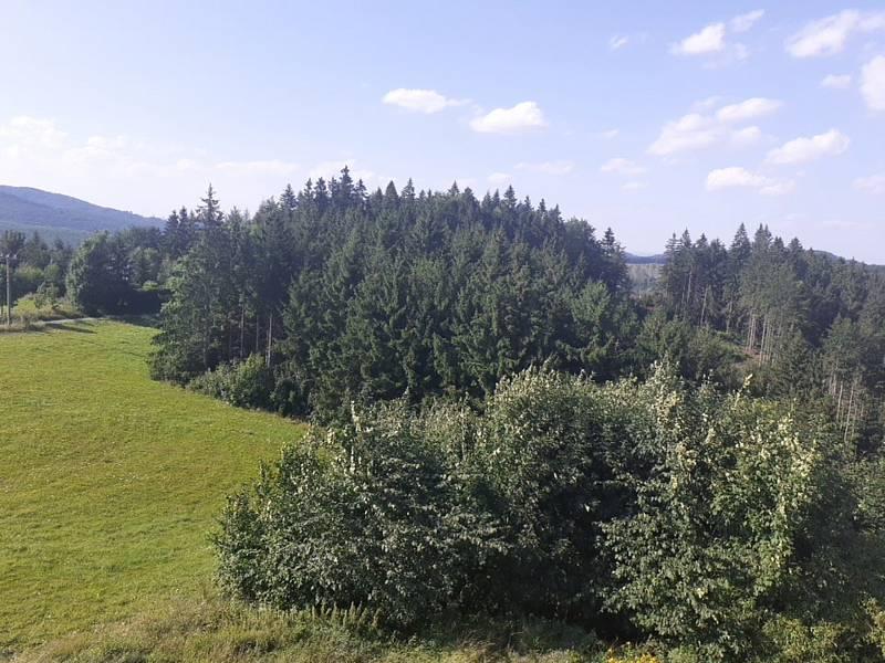 Troják a rozhledna Maruška. Rozhraní okresůKroměříž, Vsetín a Zlín.