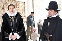 šlechtična Lukrécie Nekešová z Landeka s manželem Albrechtem z Valdštejna