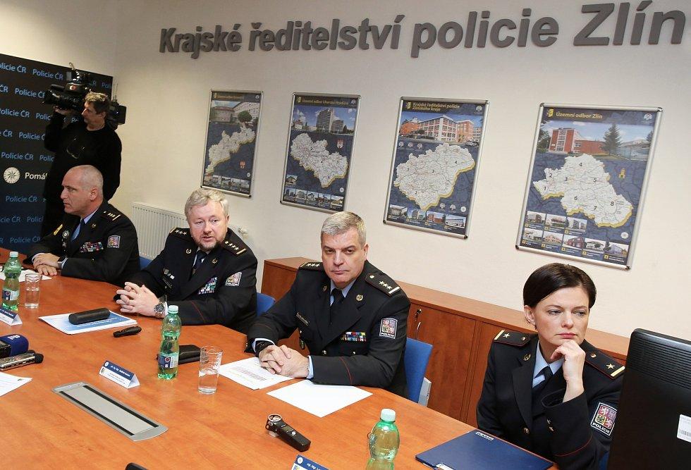 Tisková konference policie ČR ve Zlíně.Jaromír Tkadleček
