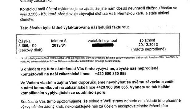 Takovýto dopis (falešnou upomínku) obdržely v kraji desítky lidí. Obrátili se proto na policii.