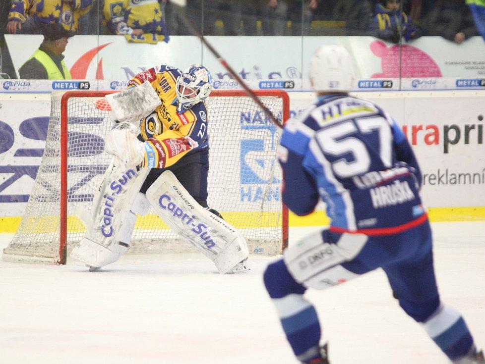 Extraligoví hokejisté PSG Berani Zlín (ve žlutém) po reprezentační přestávce v rámci 21. kola doma hostili Kometu Brno. Na snímku Čiliak