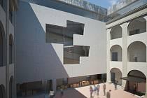 Návrh architekta Pavla Míčka - Nádvoří zlínského zámku po jeho revitalizaci