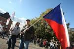 Strana svobodných pořádá demostraci proti evropské imigrační politice na náměstí Míru ve Zlíně..