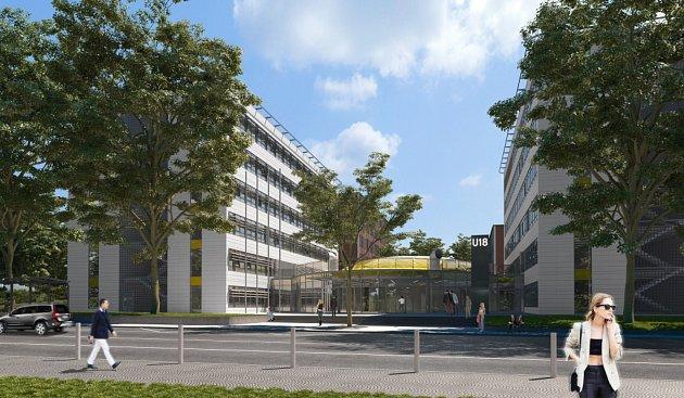 Vizualizace komplexu UTB Zlín - exteriér budovy