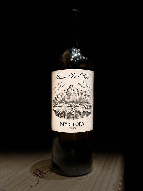 Víno Daniela Pešáta, které brzy vyjde na trh.