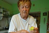 Ludmila Fojtíková je bývalá kronikářka Sehradic. Třicet let maluje kraslice. Snímek z 2. července 2021.