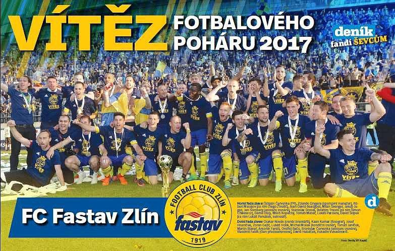 Plakát zlínských fotbalistů po vítězném pohárovém zápase v Olomouci v sobotním vydání Zlínském deníku