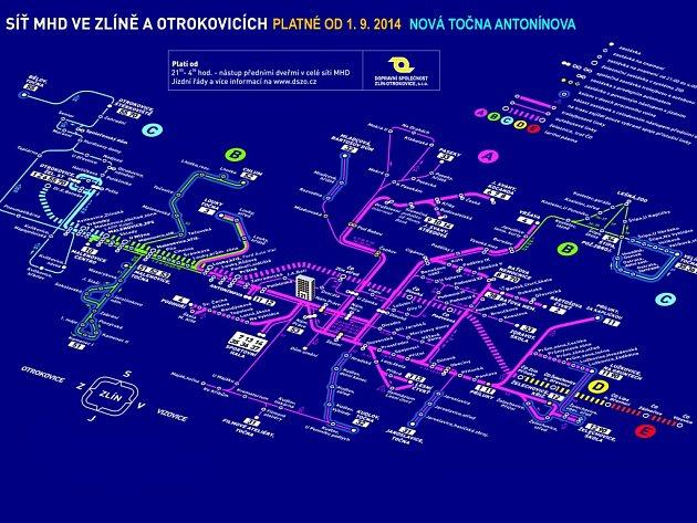 Takto by mohla v září vypadat síť MHD ve Zlíně se zakreslením točny Antonínova. Oficiální mapka zatím nebyla vydána.