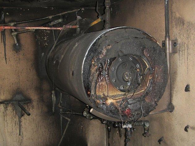 Požár kotelny ve Spytihněvi.