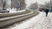 Silné sněžení ve Zlíně 5. 1. 2019