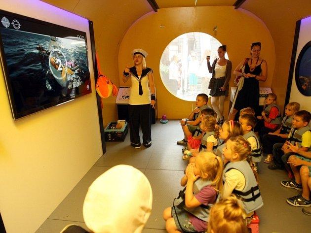 """Výstava """" Prozkoumej mořský svět"""" v obchodním centru Zlaté jablko ve Zlíně."""