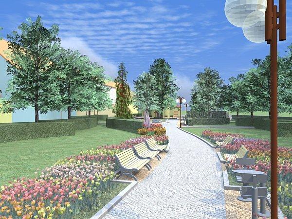 Vizualizace revitalizace severovýchodní části náměstí 3.května
