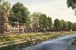 Urbanistický návrh využití areálu po KNTB ze studia Knesl +Kynčl architekti s.r.o. Brno.