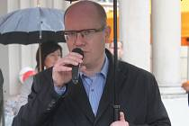 Bohuslav Sobotka na oslavě 1. máje ve Zlíně