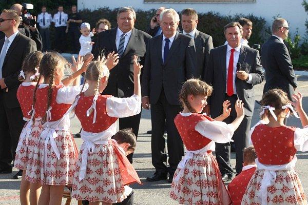 Návštěva prezidenta Miloše Zemana ve Zlínském kraji. Greiner Slušovice