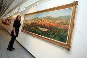 Výstava Zlínský kraj očima malíře Vladimíra Hrocha v krajské galerii výtvarného umění ve Zlíně.  Pohled na Zlín 1947