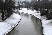 Řeka Dřevnice ve Zlíně.