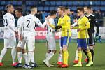 Fotbalisté Zlína (žluté dresy) v úvodním jarním kole v rámci 20. kola FORTUNA:LIGY doma v derby podhledli Slovácku 0:1