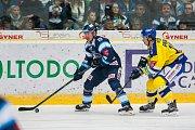 Utkání 42. kola Tipsport extraligy ledního hokeje se odehrálo 21. ledna v liberecké Home Credit areně. Utkaly se celky Bílí Tygři Liberec a Aukro Berani Zlín. Na snímku vlevo Daniel Špaček.