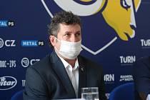 V úterý se uskutečnila tisková konference klubu PSG Berani Zlín před další extraligovou sezonu. Na snímku trenér Robert Svoboda.