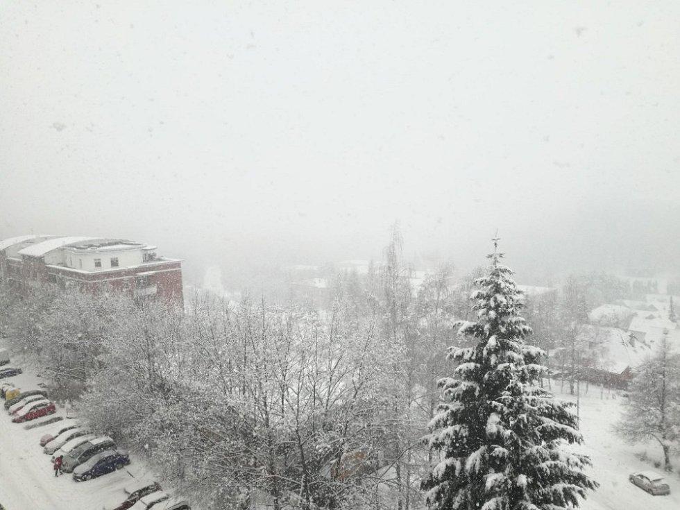 Sněžení ve Zlíně 28. 1. 2019