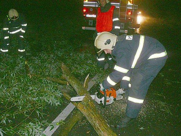 Profesionální i dobrovolní hasiči vyjížděli na odstraňování stromů ze silnic.