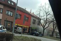 V Napajedlech hořel obchod s textilem.