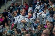 Utkání 42. kola Tipsport extraligy ledního hokeje se odehrálo 21. ledna v liberecké Home Credit areně. Utkaly se celky Bílí Tygři Liberec a Aukro Berani Zlín. Na snímku jsou fanoušci Liberce.