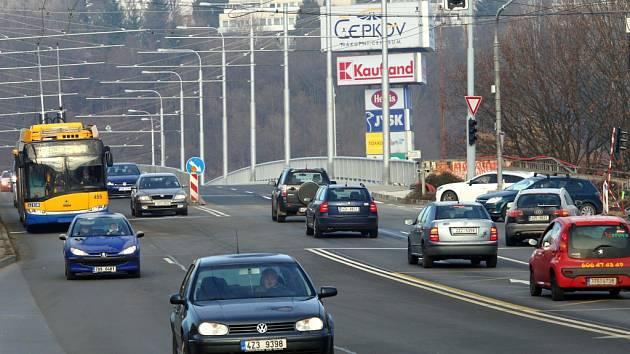 Nadjezd směrem na Jižní svahy ve Zlíně.
