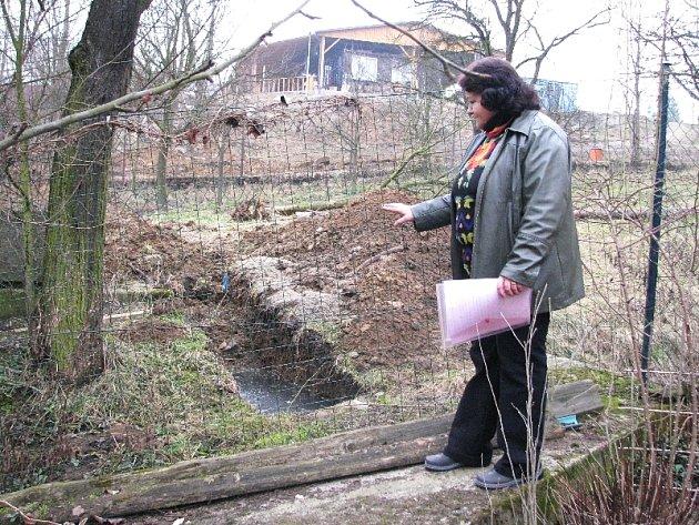 Majitelka rodinného domku a zahrádky ve zlínském údolí Žleby Vlasta Skřivánková ukazuje místo, kde už vzniklo malé jezírko. F