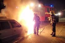 Požár auta v Březnici.
