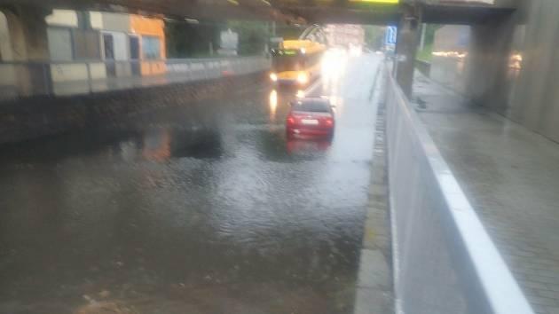 Přívalový déšť ve Zlíně, středa 28. července 2021.