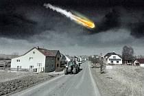 Fotomontáž dopadu meteoritu na území Sazovic v podvečer 28. 6. 1934.
