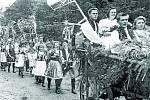 """DOŽÍNKY. Na voze s nazdobenou kosou jede Alois Coufalík. V době soukromého hospodaření se dožínky slavily na konci žní. Jejich průběh podléhal zvyklostem kraje. Hospodáře – gazdu, gazděnu a """"dědáčky"""" vybírala celá vesnice."""