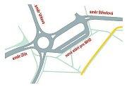 Projekt. Z návrhu vyplývá, že trolejbusům bude vybudováno sólo stání mimo kruhový objezd a vznikne také nové silniční napojení na Podlesí směrem k točně Středová.
