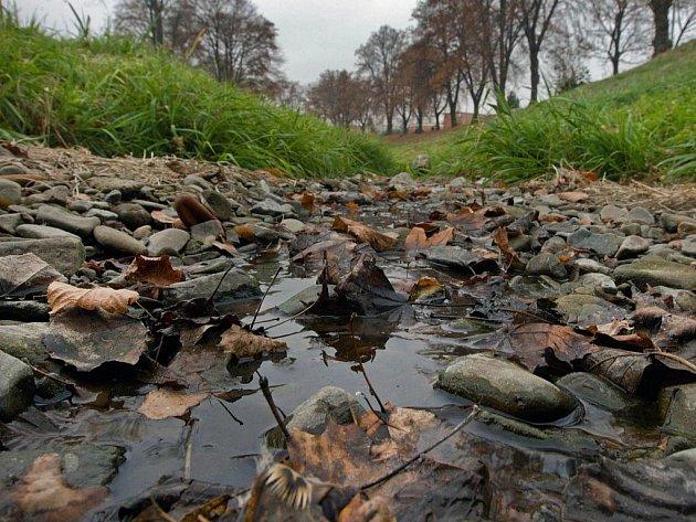 Přibližně měsíc trvající suché počasí ve Zlíně snížilo hladinu řeky Dřevnice na minimum. (snímek z pondělí 21. listopadu)