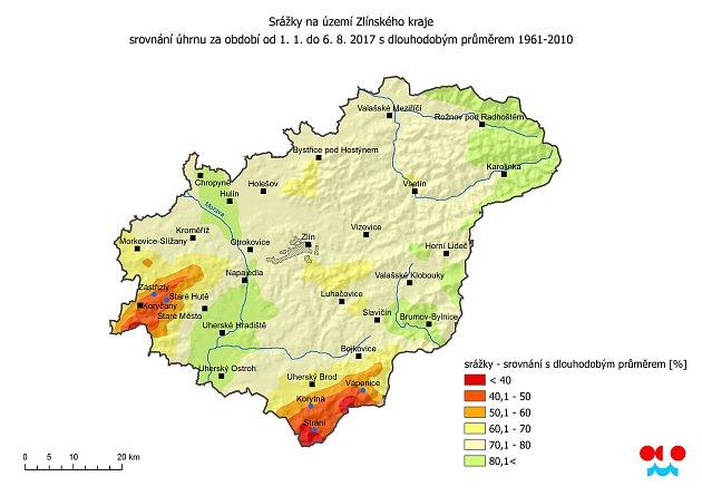 Srážky na území Zlínského kraje od 1. 1. - 6. 8. 2017