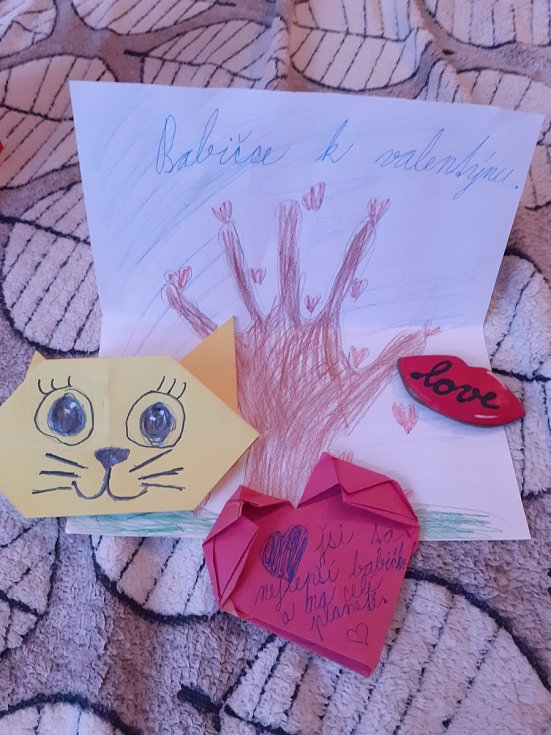Valentýnka pro mě od mé vnučky Sárinky.